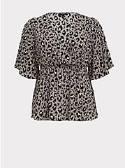 Plus Size Lily - Grey Leopard Georgette Babydoll Blouse, LEOPARD - GREY, hi-res