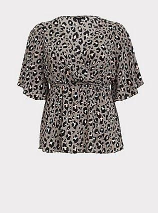 Lily - Grey Leopard Georgette Babydoll Blouse, LEOPARD - GREY, flat