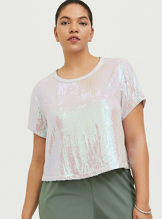 White Iridescent Sequins Crop Tee, , hi-res