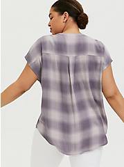 Slate Grey Plaid Textured Button Front Dolman Blouse, PLAID - PURPLE, alternate
