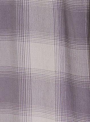 Slate Grey Plaid Textured Button Front Dolman Blouse, PLAID - PURPLE, alternate