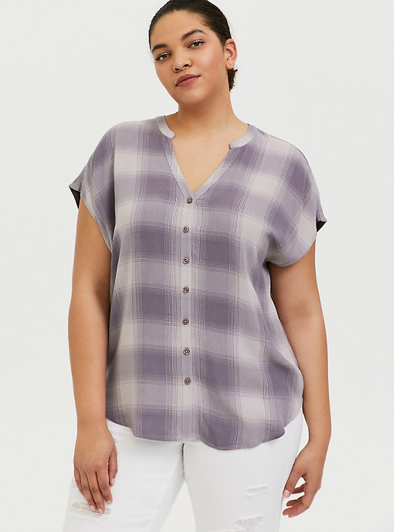 Slate Grey Plaid Textured Button Front Dolman Blouse, , hi-res