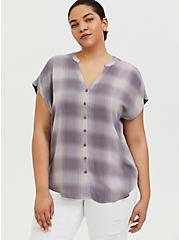 Slate Grey Plaid Textured Button Front Dolman Blouse, PLAID - PURPLE, hi-res