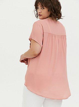 Dusty Pink Georgette Hi-Lo Blouse, ASH ROSE, alternate