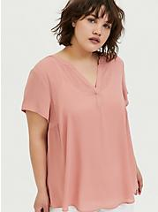 Plus Size Dusty Pink Georgette Hi-Lo Blouse, ASH ROSE, hi-res