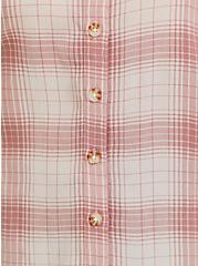 Peach Plaid Textured Button Front Cold Shoulder Blouse, PLAID - PINK, alternate