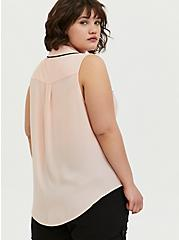Madison - Peach Pink Georgette Button Front Tank, PEACH MELBA, alternate