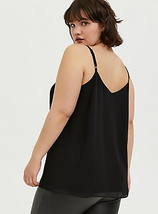 Sophie - Black Chiffon Lattice Swing Cami, DEEP BLACK, alternate