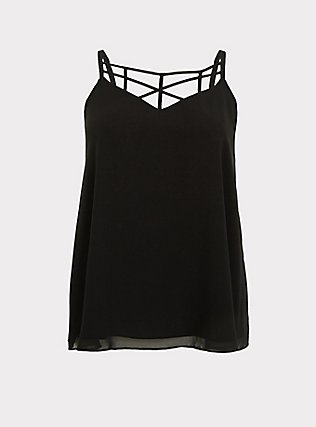 Sophie - Black Chiffon Lattice Swing Cami, DEEP BLACK, flat