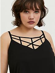Sophie - Black Chiffon Lattice Swing Cami, DEEP BLACK, hi-res