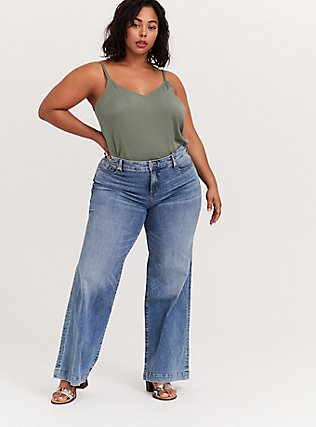 Plus Size Essential Light Olive Green Stretch Challis Cami, AGAVE GREEN, alternate