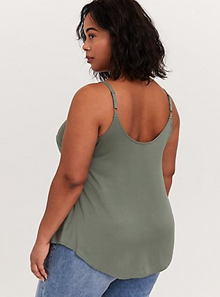 Essential Light Olive Green Stretch Challis Cami, AGAVE GREEN, alternate