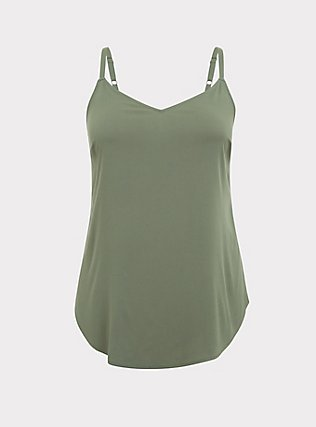 Plus Size Essential Light Olive Green Stretch Challis Cami, AGAVE GREEN, flat