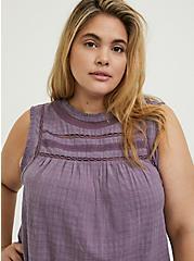 Plus Size Slate Grey Textured Crochet Inset Tank , GRAY RIDGE, alternate