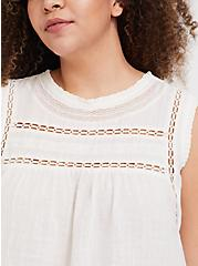 White Textured Crochet Inset Tank, CLOUD DANCER, alternate
