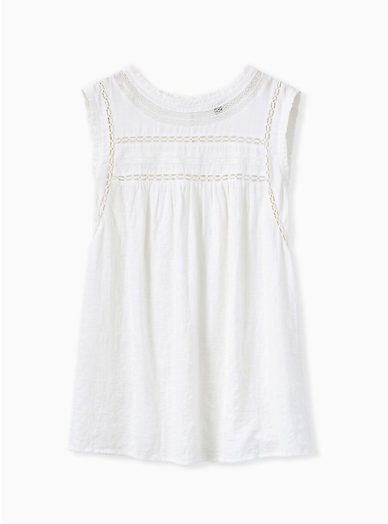 White Textured Crochet Inset Tank, , flat