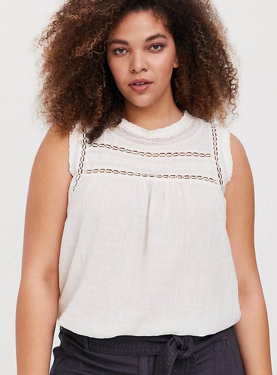 White Textured Crochet Inset Tank, , hi-res
