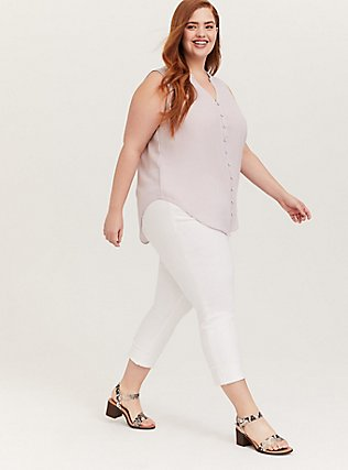 Plus Size Harper - Lilac Purple Gauze Button Front Tunic Tank, LILAC MARBLE, alternate