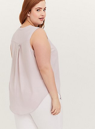 Harper - Lilac Purple Gauze Button Front Tunic Tank, LILAC MARBLE, alternate