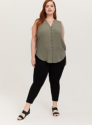 Harper - Light Olive Green Gauze Button Front Tunic Tank, AGAVE GREEN, alternate