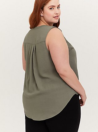 Plus Size Harper - Light Olive Green Gauze Button Front Tunic Tank, AGAVE GREEN, alternate
