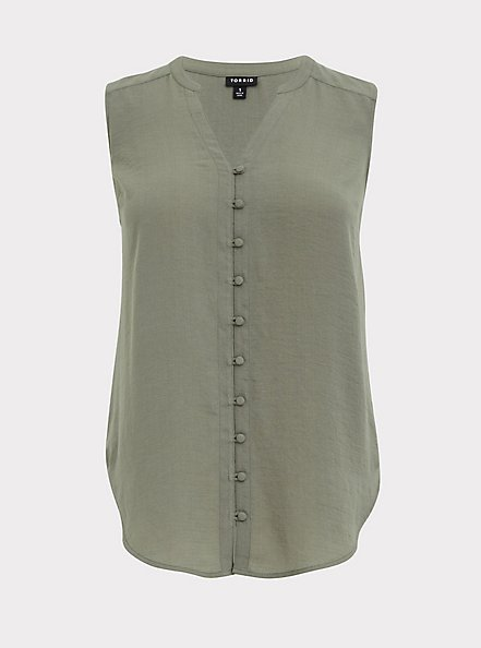 Harper - Light Olive Green Gauze Button Front Tunic Tank, AGAVE GREEN, hi-res