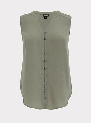Plus Size Harper - Light Olive Green Gauze Button Front Tunic Tank, AGAVE GREEN, flat