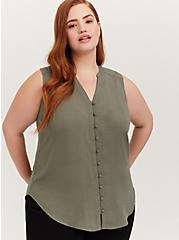 Plus Size Harper - Light Olive Green Gauze Button Front Tunic Tank, AGAVE GREEN, hi-res