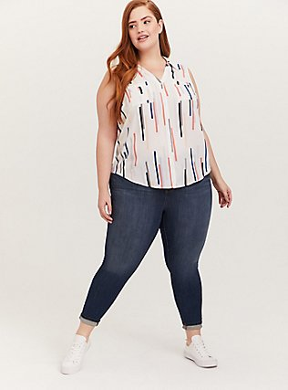 Plus Size Madison - White & Multi Line Georgette Button Front Tank, LINE - WHITE, alternate