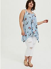 Light Blue Textured Rayon Floral Sharkbite Cami, FLORAL - BLUE, alternate