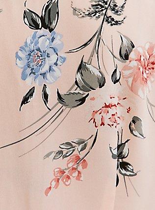 Light Pink Floral Georgette Peplum Tie Front Sleeveless Blouse, MULTI, alternate