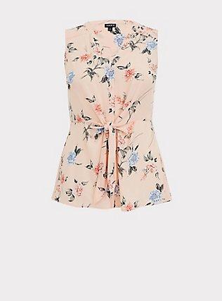 Light Pink Floral Georgette Peplum Tie Front Sleeveless Blouse, MULTI, flat