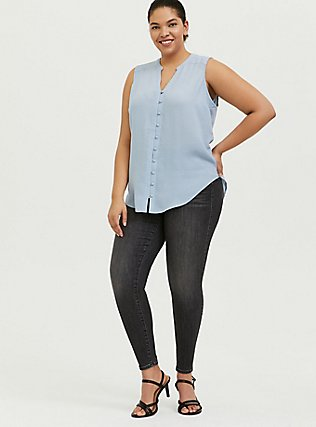 Plus Size Harper - Light Blue Gauze Button Front Tunic Tank, BLUE FOG, alternate