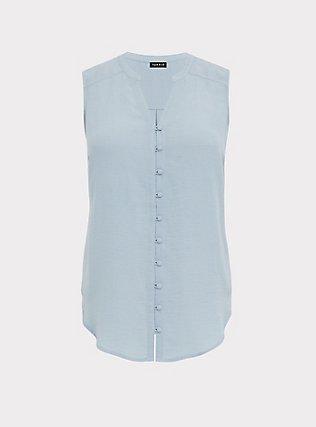 Harper - Light Blue Gauze Button Front Tunic Tank, BLUE FOG, flat