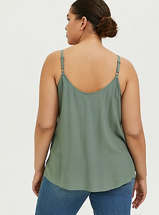 Sophie - Light Olive Green Challis Eyelet Swing Cami, AGAVE GREEN, alternate