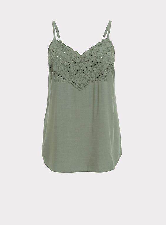Sophie - Light Olive Green Challis Eyelet Swing Cami, , flat