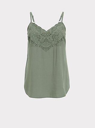 Sophie - Light Olive Green Challis Eyelet Swing Cami, AGAVE GREEN, flat