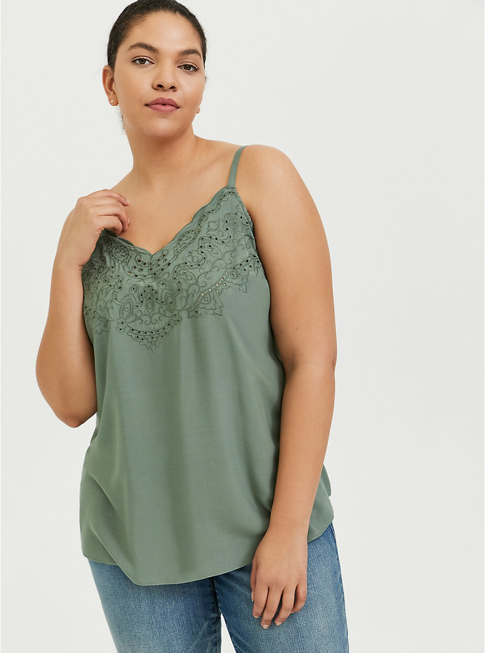 Sophie - Light Olive Green Challis Eyelet Swing Cami, , hi-res