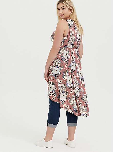 Dusty Rose Floral Challis Babydoll Tunic Tank, FLORAL - PINK, alternate