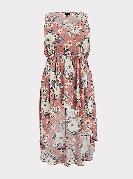 Dusty Rose Floral Challis Babydoll Tunic Tank, FLORAL - PINK, hi-res