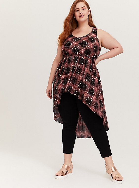 Red & Black Plaid & Gold Star Babydoll Tunic Tank, , hi-res
