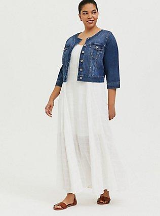 Plus Size Crop Collarless Denim Jacket - Medium Wash , MEDIUM WASH, alternate
