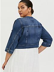 Crop Collarless Denim Jacket - Medium Wash , MEDIUM WASH, alternate