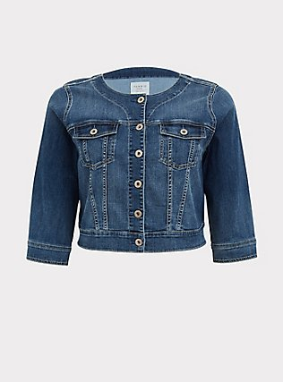 Crop Collarless Denim Jacket - Medium Wash , MEDIUM WASH, flat