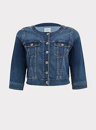 Plus Size Crop Collarless Denim Jacket - Medium Wash , MEDIUM WASH, flat