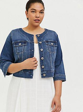 Plus Size Crop Collarless Denim Jacket - Medium Wash , MEDIUM WASH, hi-res