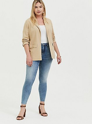Plus Size Tan Linen Open Front Blazer, TAN/BEIGE, alternate