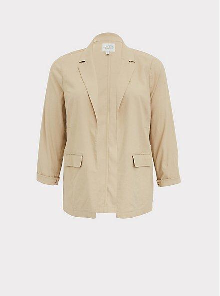 Beige Linen Open Front Blazer, TAN/BEIGE, hi-res