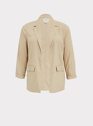 Tan Linen Open Front Blazer, TAN/BEIGE, flat