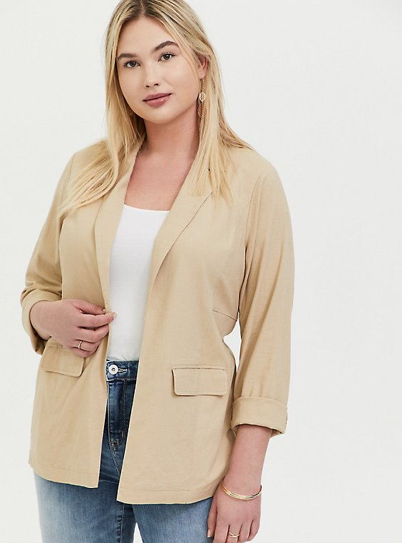Plus Size Tan Linen Open Front Blazer, , hi-res